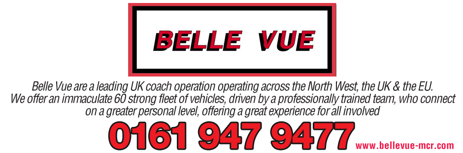 Belle Vue Coach Hire Advert - Gives details of telephone number of 0161 947 9477